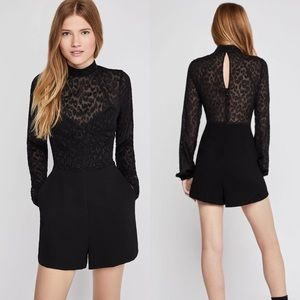 BCBG Jacquard Burnout Mock Neck Bell Sleeve Romper